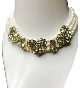 Betsey Johnson Betsey Johnson Mint Green Crystal Heart Triple Row Pearl Statement Choker Necklace
