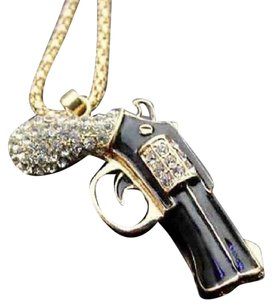 Betsey Johnson Betsey Johnson Swarovski Crystal Gun Pendant Necklace