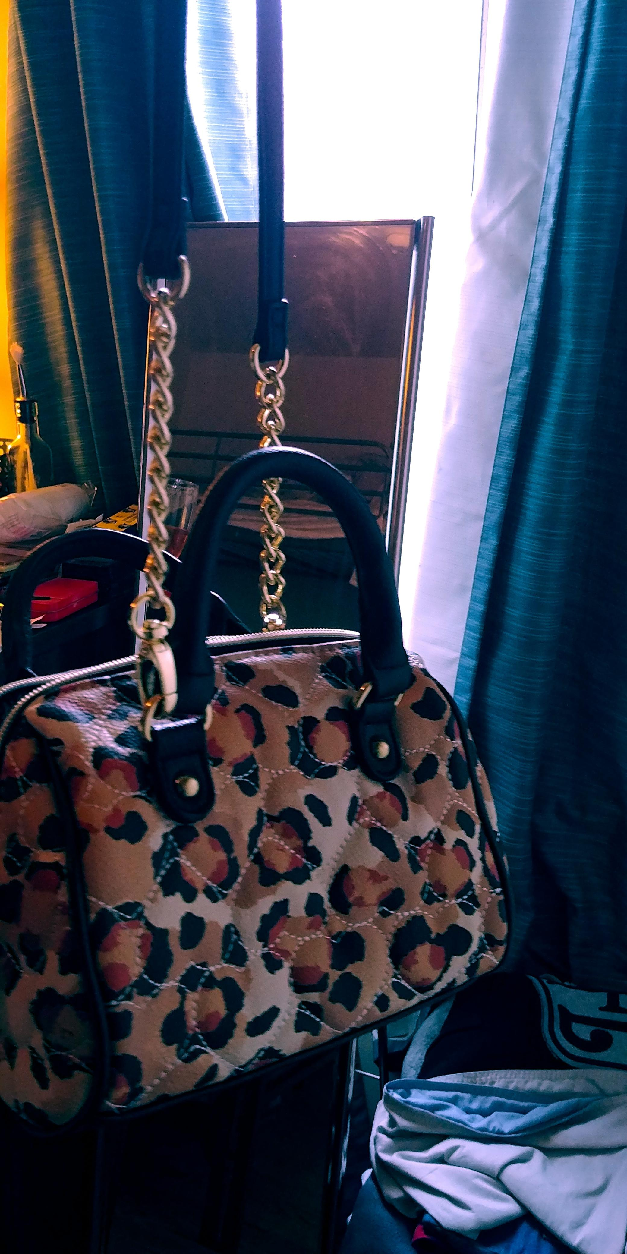 Betsey Johnson Heart Quilted Small Leopard Vegan Leather
