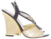 Betsey Johnson Leather Lame Shiny Wedge Black and Gold Sandals