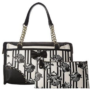 Betsey Johnson Black Cream Roses Scallop Edge Satchel With Pouch Rare Cross Body Bag