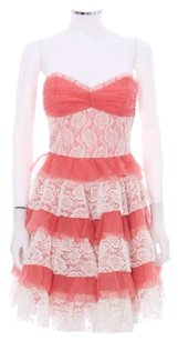 Betsey Johnson Organza Pleated Tiered Lace Evening Dress