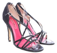 Betsey Johnson Patent Leather Acrylic Strappy Open Toe Lace Black Sandals