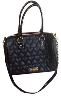 Betsey Johnson Quilted Gold Gold Hardware Satchel in Black