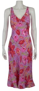 Betsey Johnson Womens Floral Sleeveless Below Knee Sheath Dress