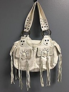 Betsey Johnson Zip Top Multi Compartment Fringed Stitch B3471 Shoulder Bag