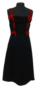 Betsey Johnson Silk Red Bow Accent Ruched Little Lbd Dress