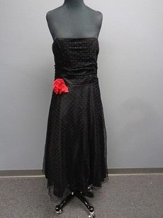 Betsy & Adam short dress Black And Polka Dot Lacy Nylon Strapless Formal Sm8834 on Tradesy