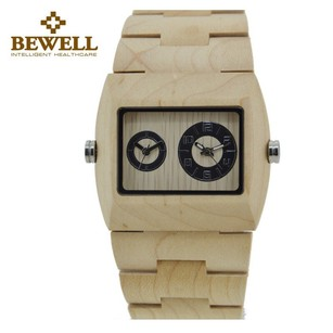 BEWELL BEWELL* Men's Wood Watch Japan's Dual Movement Quartz Wrist Watch
