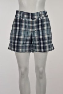 Billy Blues Womens Plaid Casual Cuffed Shorts White
