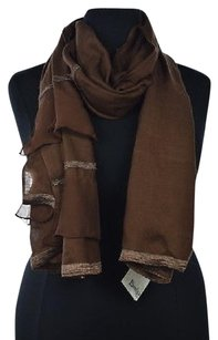 Bindya New York Bindya Womens Brown Scarf Os Solid Cashmere Silk Casual