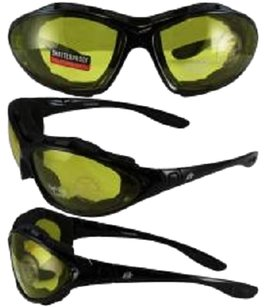 Birdz Eyewear Birdz Thrasher Motorcycle Glasses-Convert-to-Goggles with Yellow Shatterproof Anti-Fog Polycarbonate Lenses and Wind Blocking Foam