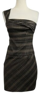 Black Halo Halo Womens Tan Sheath 0 Plaid Casual One Dress