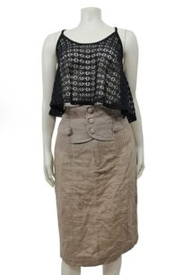 Black Halo Linen Pencil Skirt Mocha