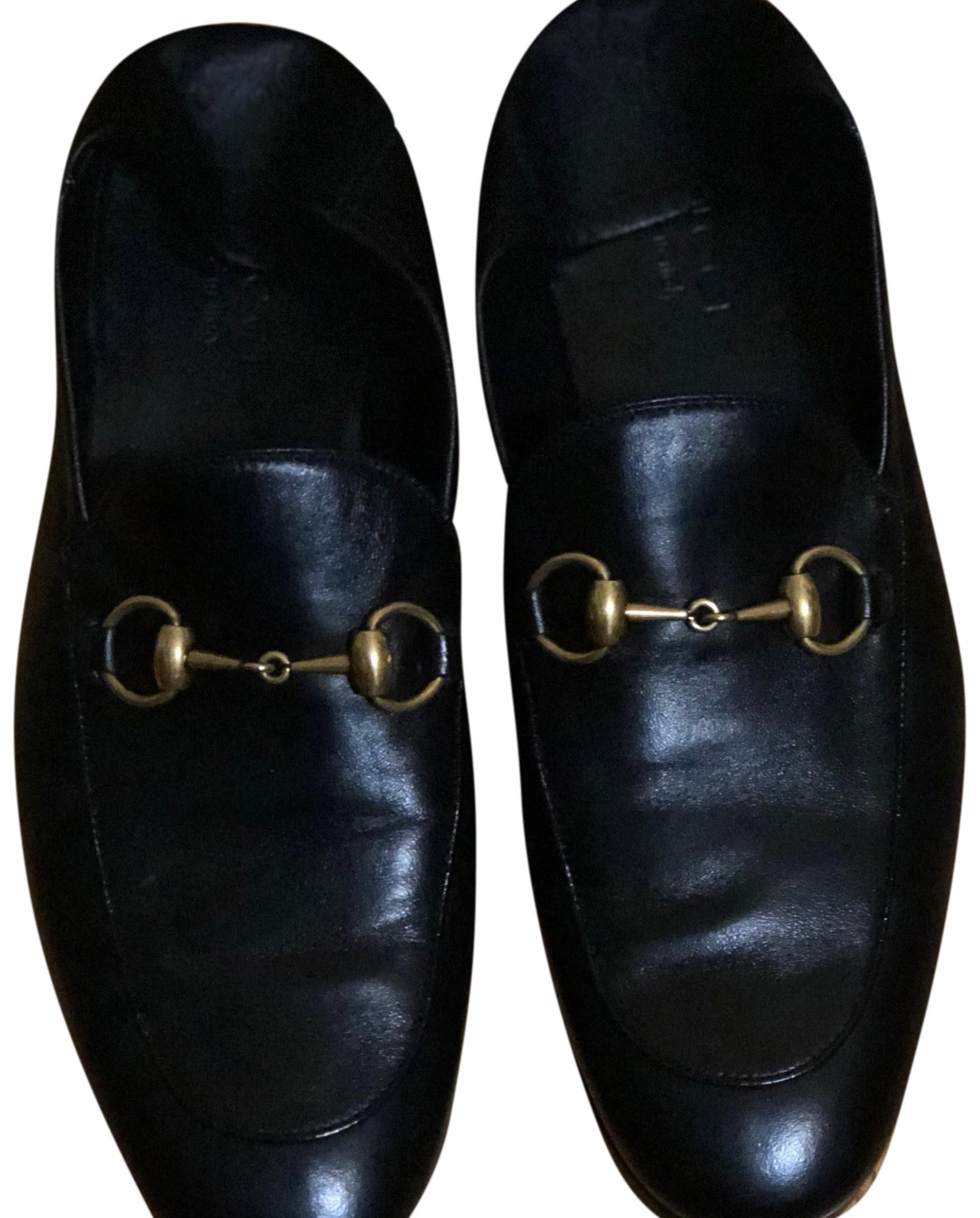 Black Leather with Gold Horsebit Soft Bit-strap Loafers Flats Size US 7 Regular (M, B)