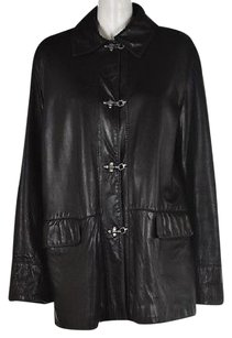 Blue Duck Womens Leather Casual Long Sleeve Coat Black Jacket