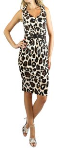 Blumarine Leopard Print Sleeveless V-neck Tailored Fit Designer Dress