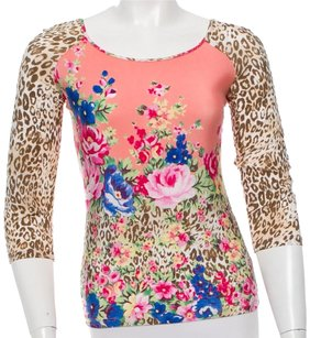 Blumarine Longsleeve Leopard Floral Top Pink, Brown, Multicolor