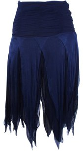 Blumarine Silk Skirt Navy