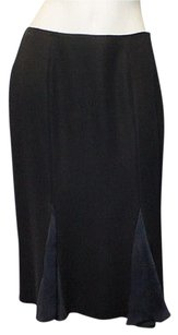 Blumarine 100 Silk Knee Skirt Black