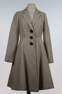 Boden Textured Coat 2r Long Sleeve Cotton Blend Trench Beige Jacket