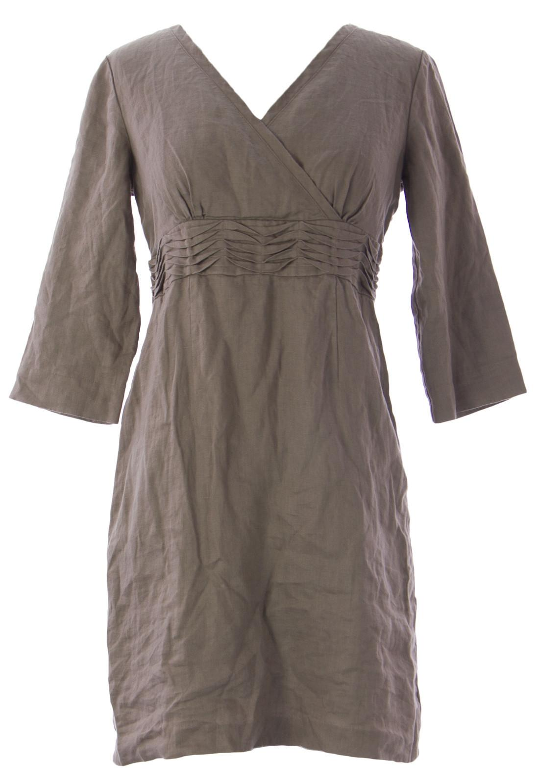 boden womens taupe shirred waist laidback dress wh339 108 nwot