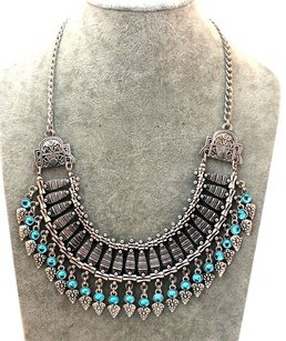 Bohosexy Silver and Turquoise Blue stone tassel boho bohemian bib turkish coin gypsy festival chunky statement necklace