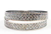 Bottega Veneta Bottega Veneta Antiqued Sterling Silver Woven Bangle Bracelet