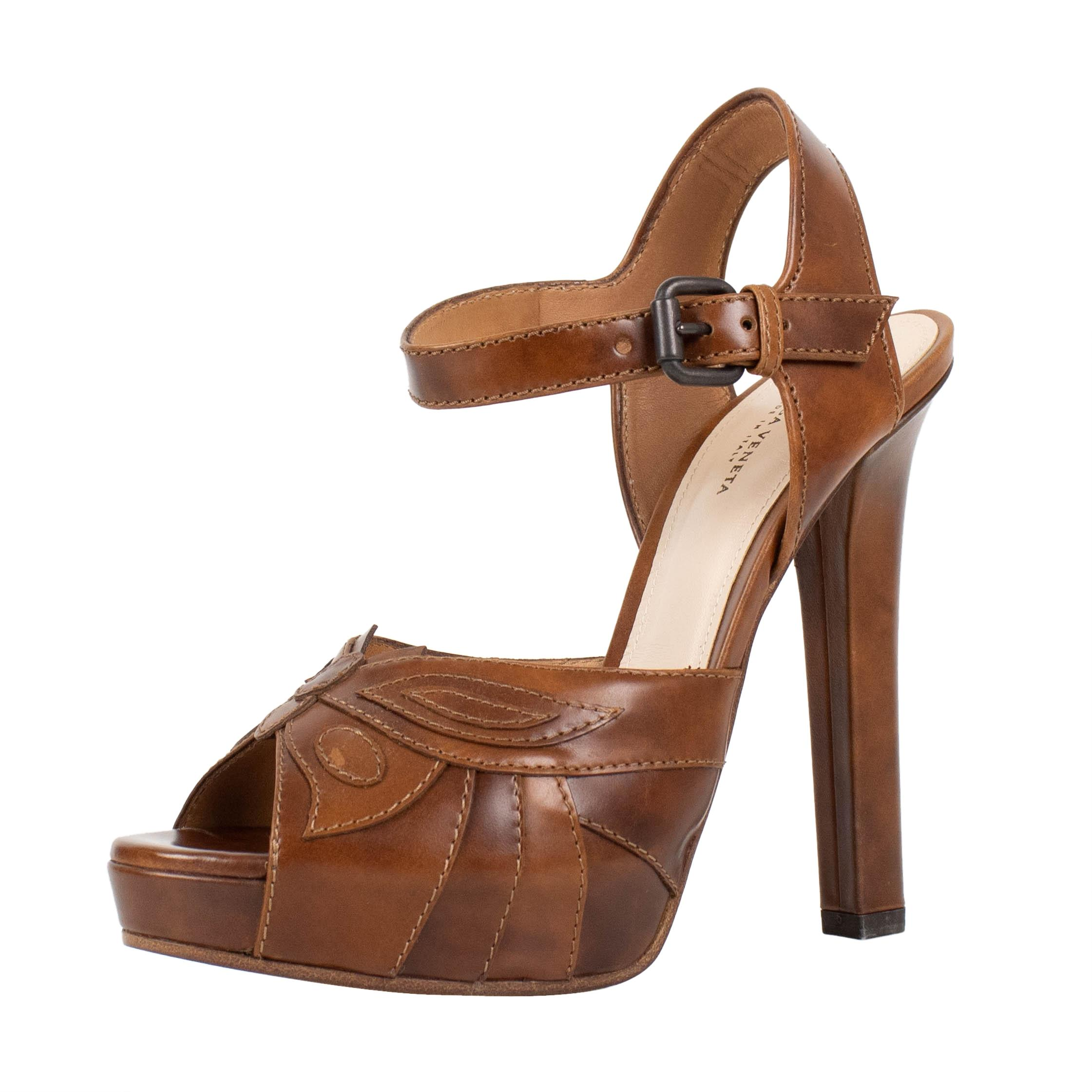 Bottega Veneta Brown Leather Open Toe Heels Pumps Size US 6.5 Regular (M, B)