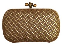 Bottega Veneta Leather Knot Gold & Tan Clutch