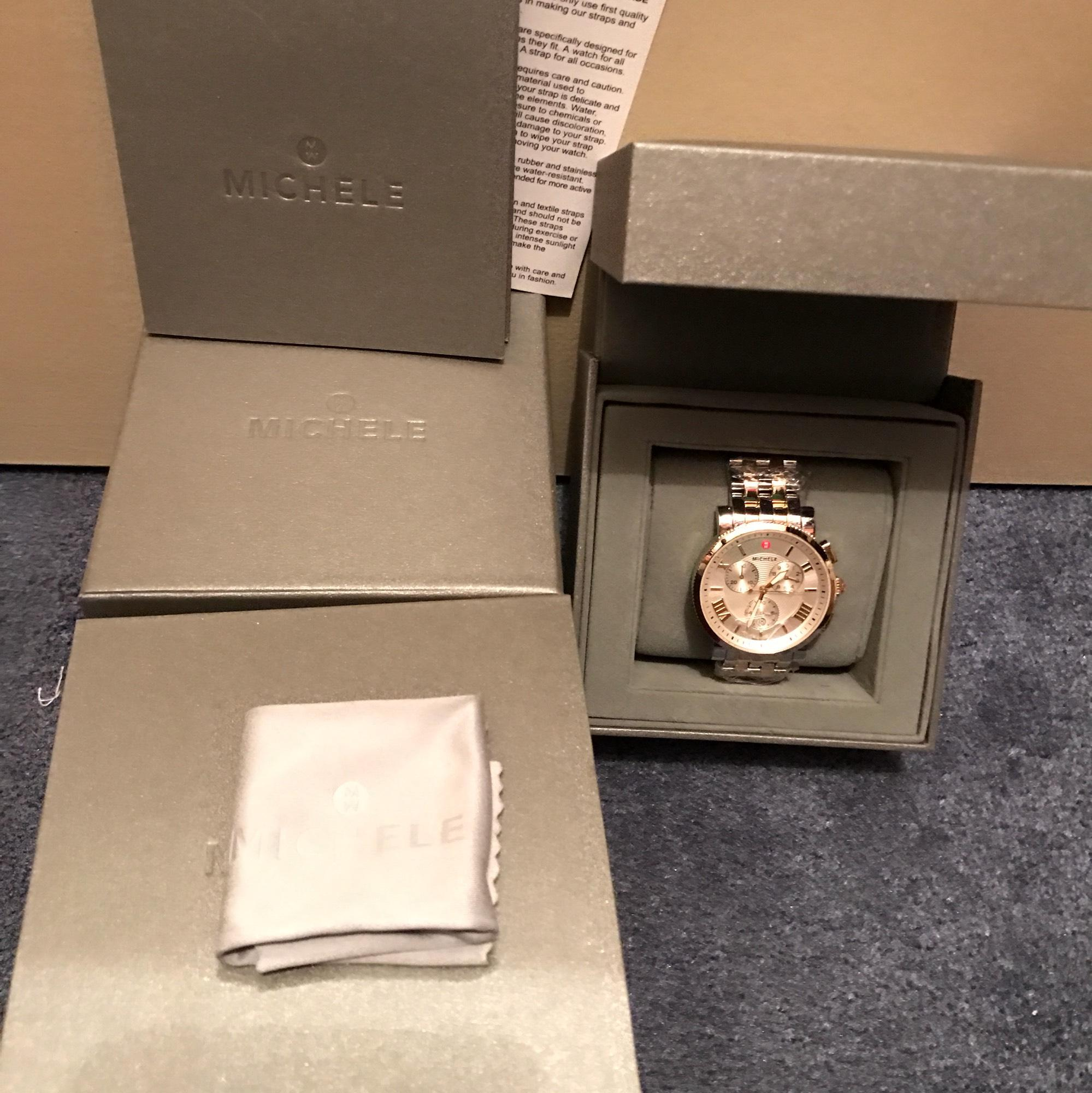 BRAND NEW MICHELE TWO TONE 42MM LARGE SPORT SAIL WATCH