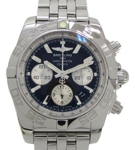 Breitling Auth BREITLING Stainless Steel Chronomat 44 Watch Mens Automatic Black