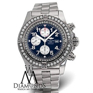 Breitling Diamond Breitling Super Avenger A13370 Blue Face Diamond Bezel Watch