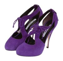 Brian Atwood Madison Grape Suede Lace Up Cut Out Pump Purple Platforms