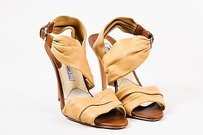 Brian Atwood Ruched Tan Sandals