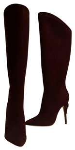 Brian Atwood Geniune Boot Suede Leather Burgundy Boots