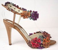 Brian Atwood Flowers Camel / Multi-Color Pumps