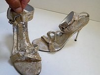 Bridget Shuster Bridget Metallic Distressed Leather Heart Jeweled Heels B Silver Pumps