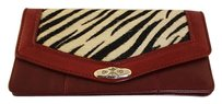 Brighton Brighton Womens Red Animal Print Envelope Wallet Leather Handbag Purse