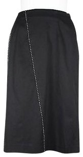 Brooks Brothers Womens White Solid Below Knee Blend Skirt Black