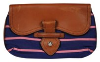 Brooks Brothers Womens Striped Leather Casual Handbags Navy Clutch
