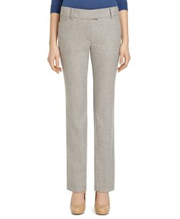 Brooks Brothers Lucia Fit Wool Flannel Slim Fit Unlined Straight Leg Slender Fit Trouser Pants Grey