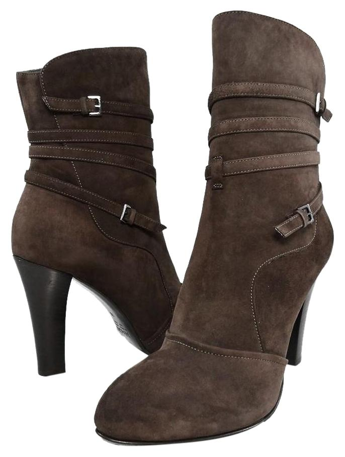 Bruno Magli Brown Italy Levice De5506 Ankle Suede Heels 40 ...