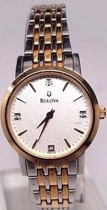 Bulova Bulova Womens 98p115 Diamond Accented Bracelet Watch Links Missing