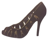 Bumper Pump Peep Toe Black & Gold Pumps