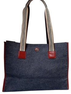 Burberry Denim Red Leather Italy Tote in Blue