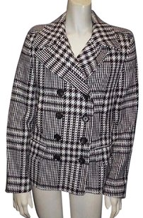 Burberry Houndstooth Wool Double Breasted Notched Hs3006 Coat