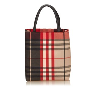 Burberry Black Fabric Leather Tote
