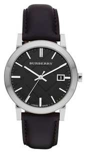 Burberry BU9009 The City Black Leather Strap Watch Mens 38mm