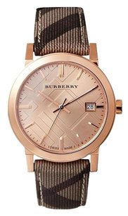 Burberry BU9040 the City Check Plaid Leather Rose Gold Watch
